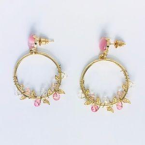 New! Pink Flower Hoop Wreath Earrings Gold